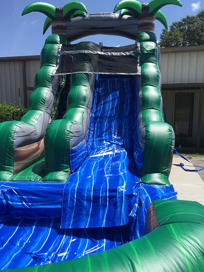 Straight forward view of the 15' water slide. Showing latter entrance and where slide flows into the pool attached to the slide.